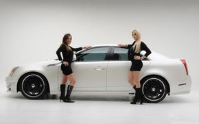 Picture Girls, blonde and brunette, two beautiful girls, cadillac cts 2008, brunette smiling, sitting near the …