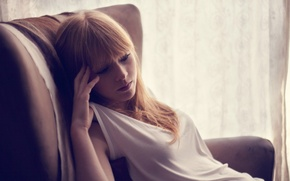 Picture girl, reverie, chair, curtain, curls, Lucy Rose