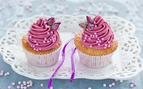 Picture flowers, pink, sweets, cream, dessert, cakes, sweet, tray, cupcakes, spoon, Anna Verdina