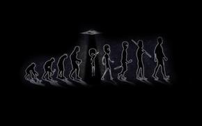 Picture people, UFO, monkey, Evolution, origin