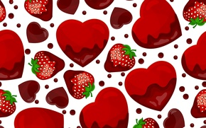 Picture texture, strawberry, hearts, texture, hearts, strawberry