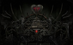 Picture the dark background, mechanism, art, heart, black, crystal, red, web, metal