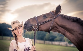 Picture girl, horse, hat