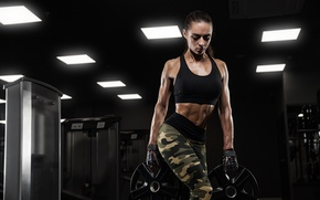 Wallpaper female, sportswear, fitness, brunette, workout, pose, force