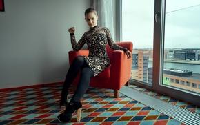 Picture girl, chair, dress, shoes, tights, girl, Nathan Photography, Tonny Jorgensen, Sarah Salomonsen