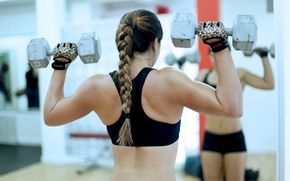 Wallpaper back, female, workout, fitness, gym