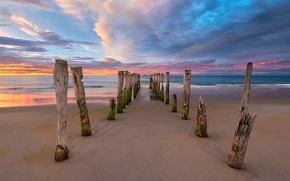 Wallpaper sea, beach, clouds, posts, morning, New Zealand