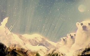 Wallpaper stars, snow, mountains, the city, collage, Treatment, bears