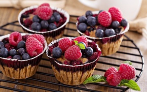 Picture berries, cakes, fruit, pastries, Berry scones with oats, Berry muffin with oats