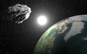 Picture planet earth, asteroid, 2004 bl86