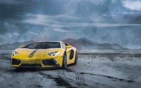 Picture Lamborghini, Clouds, Front, Snow, Yellow, LP700-4, Aventador, Supercars, Mountains, Wheels, ADV.1, Ligth