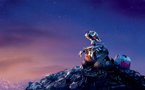 Picture sadness, the sky, stars, garbage, the film, cartoon, the evening, wall-e, valley, scrap