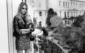 Picture model, dress, jacket, black and white, balcony, brown hair, Cara Delevingne, Cara Delevingne