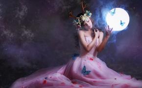 Wallpaper flowers, light, background, face, hair, girl, butterfly, horns, round, dress