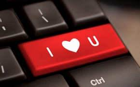 Picture computer, red, background, Wallpaper, mood, heart, wallpaper, keyboard, love, heart, I love you, widescreen, background, …