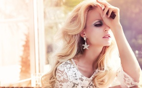 Picture light, nature, face, background, earrings, lighter, blonde, lace, neck, curls, window, luxury