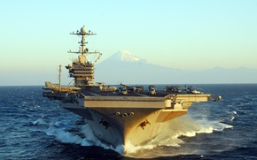"Picture mountain, USS, (CVN-73), George Washington, sea, wave, the carrier, type ""Nimitz"""