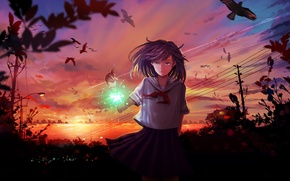 Picture the sky, girl, clouds, sunset, birds, the city, wire, anime, art, form, schoolgirl, sparklers, mikan