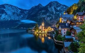 Picture mountains, lights, lake, the evening, Austria, Alps, Salzkammergut, Hallstatt