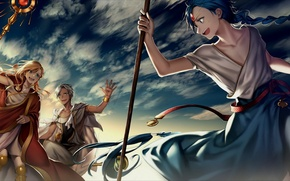 Picture the sky, anime, art, guys, Magi The Labyrinth of Magic