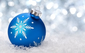Picture winter, snow, blue, background, holiday, Wallpaper, toys, new year, ball, wallpaper, new year, widescreen, winter, …