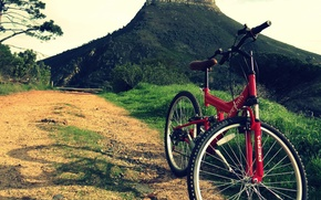 Picture road, mountains, bike, sport, mountain bike full suspension vs hardtail