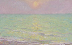 Wallpaper sea, the sun, reflection, paint, picture, seascape, Theodore Earl Butler, His-Mar, Sunset at Veules-les-Roses