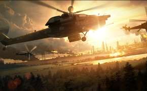 Wallpaper helicopter, Aviation, MI-28, the evening, explosions