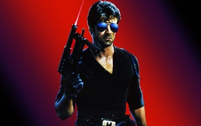 Picture weapons, match, glasses, Cobra, Sylvester Stallone