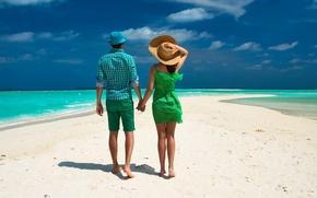 Picture sea, beach, tropics, Palma, pair, walk, beach, sea, steam, walk, palm, tropics