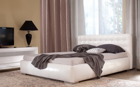 Picture comfort, carpet, lamp, bed, pillow, TV, window, bed, blind, bedroom, stand, bed