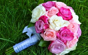 Picture grass, roses, bouquet, ring, wedding, wedding