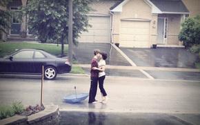 Picture road, machine, girl, rain, romance, passion, tenderness, feelings, kiss, hugs, girl, love, bad weather, guy, …