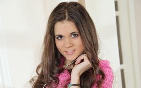 Picture eyes, look, girl, sweetheart, hair, brunette, the beauty, curls