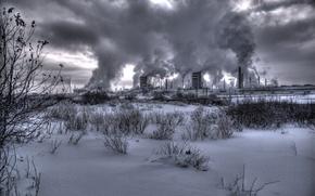 Wallpaper factory, winter, smoke, smoke, nuclear, nuclear power plant, plant, winter