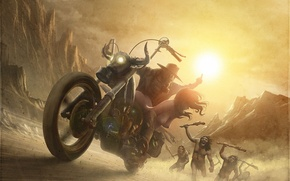 Picture savages, naked, art, guy, motorcycle, girl, kidnapping, chase