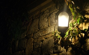 Picture light, night, the fence, lantern