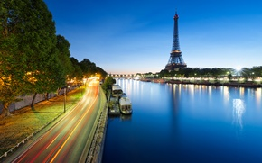 Picture road, trees, river, France, Paris, boats, excerpt, Hay, Eiffel tower, Paris, France, Eiffel Tower, La …