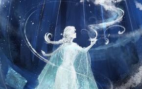 Picture girl, snow, art, Frozen, Elsa, Elsa, Cold heart