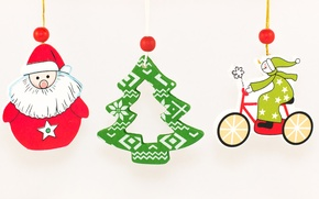 Wallpaper snowman, Santa Claus, tree, new year, suspension