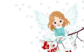 Picture winter, snowflakes, sprig, mood, wings, art, Rowan, children's, fairy