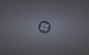 Picture grey, round, logo, windows, logo, dark background