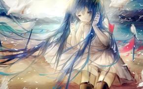 Picture sea, water, girl, birds, shore, anime, art, vocaloid, hatsune miku, sayuki