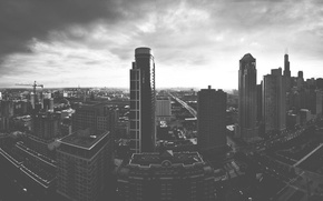 Wallpaper cityscapes, black and white, buildings