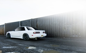 Picture white, Silvia, Nissan, Nissan, Sylvia, stance, S13