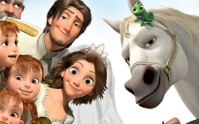Picture happiness, children, chameleon, horse, girls, cartoon, Rapunzel, the bride, Princess, wedding, crown, the robber, Complicated …