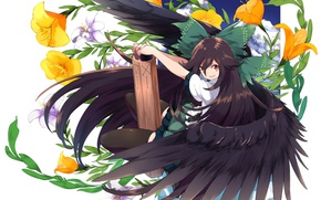 Picture flowers, white background, long hair, bangs, Touhou, Reiu Equipment, Utsuho, black wings, Touhou Project, Project …