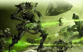 Picture battle, Warhammer 40k, monolith, Necrons, Ultramarines, necrons, dreadnaut