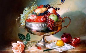 Picture raspberry, lemon, butterfly, apples, rose, strawberry, grapes, knife, vase, pear, still life, painting, Alexei Antonov, …