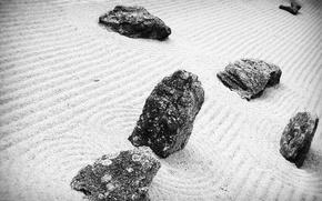 Wallpaper black and white, stones, sand